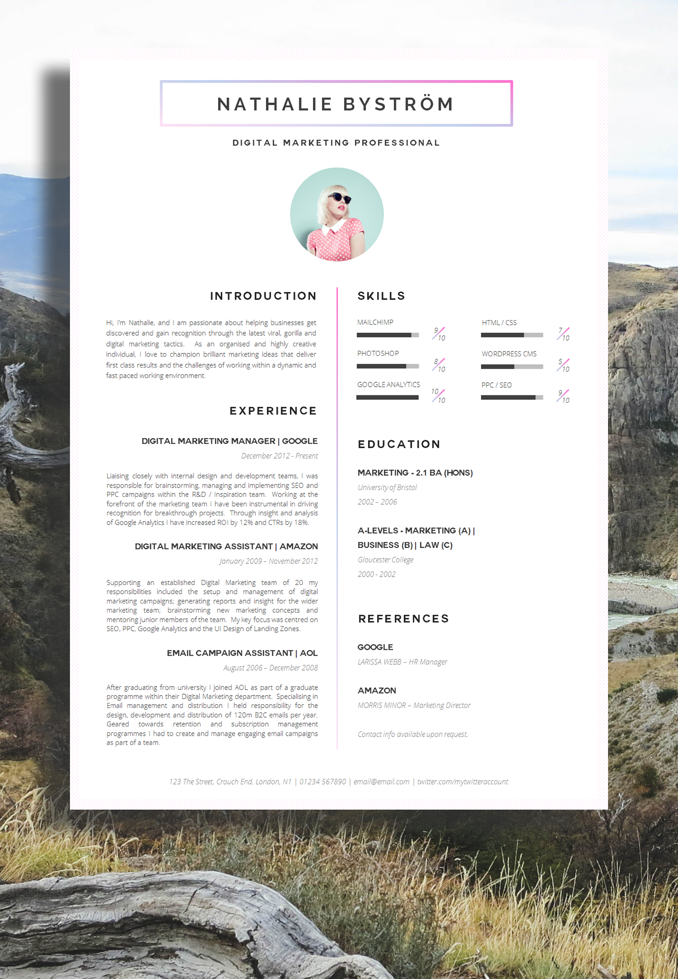 marketing cv - Resume Sample With Design