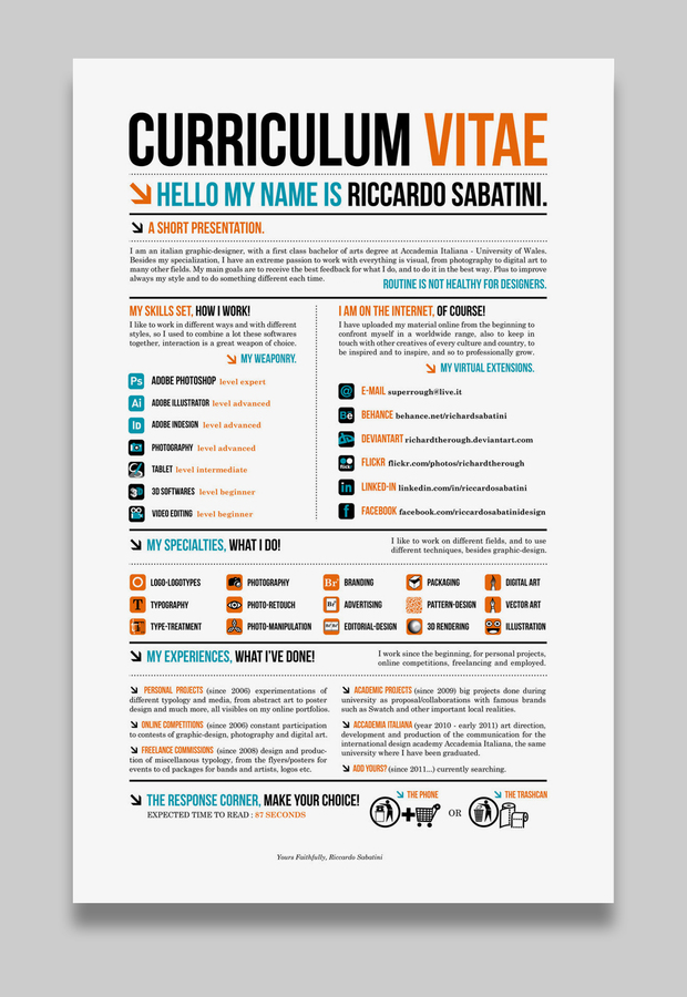 Good Ricardo Sabatini Creative CV Within Creative Resume Examples