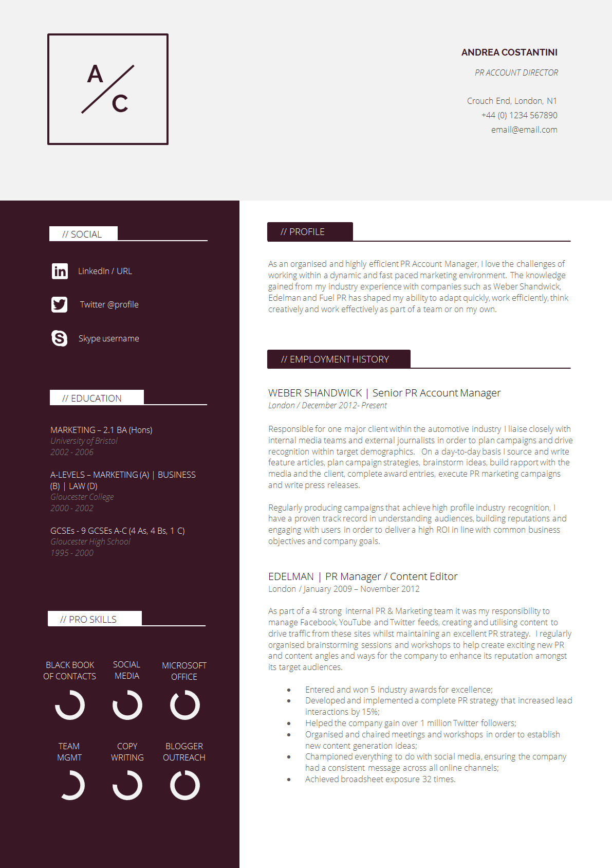 cv template - Sample Professional Resume Template