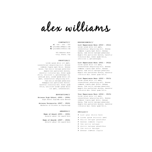 download this resume template