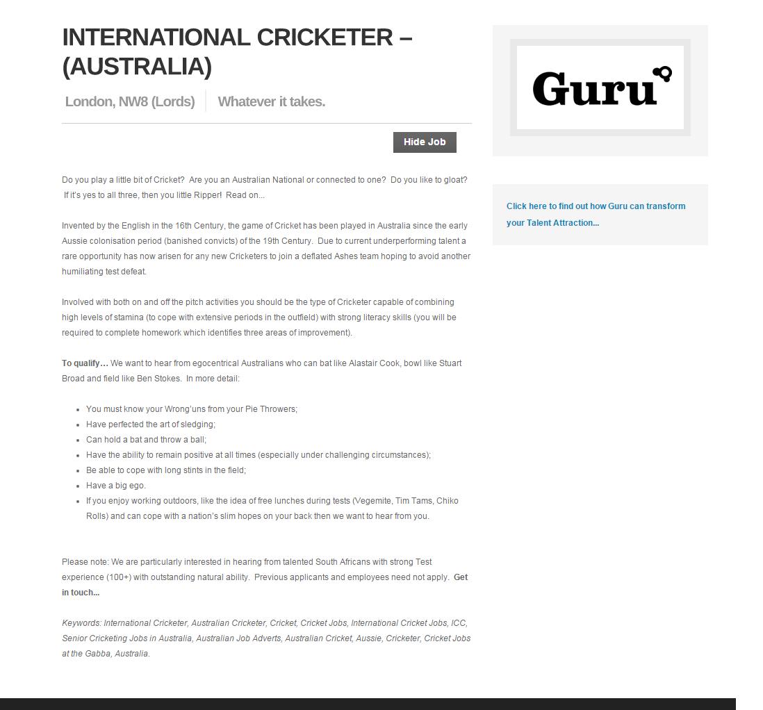 Australian Cricketer Advert