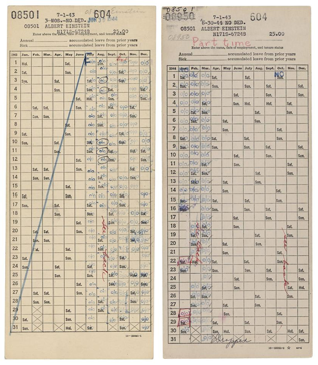 Albert Einstein Time Sheets