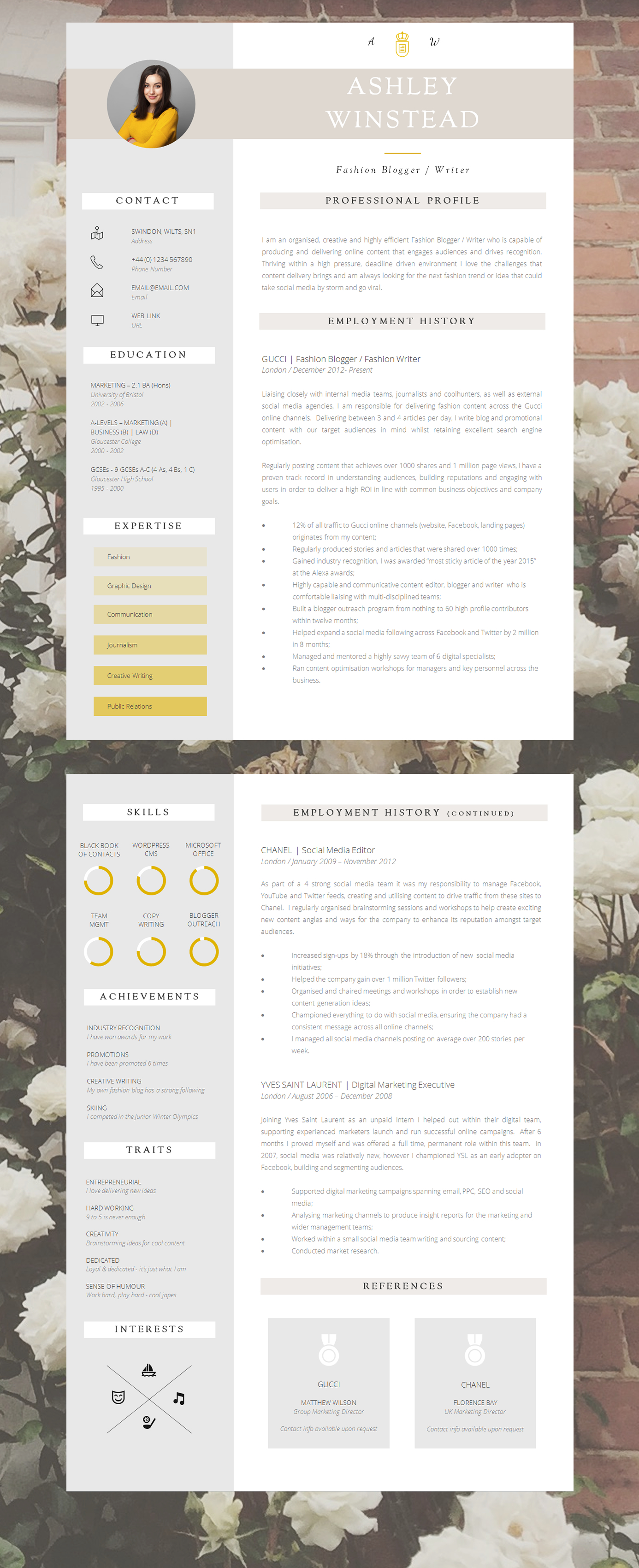 2 Page Creative Resume Template  Resume Or Cv
