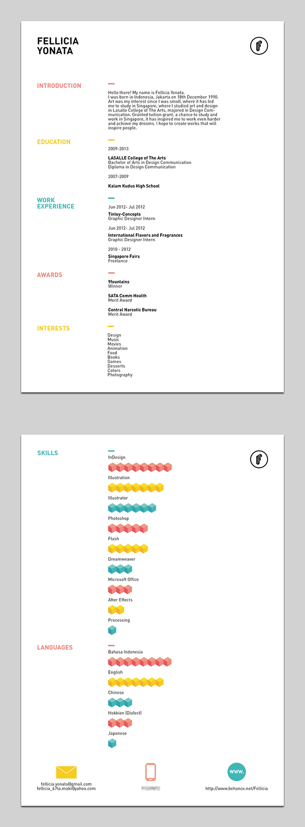 Colourful Resume Template  Modern Resume Template Word