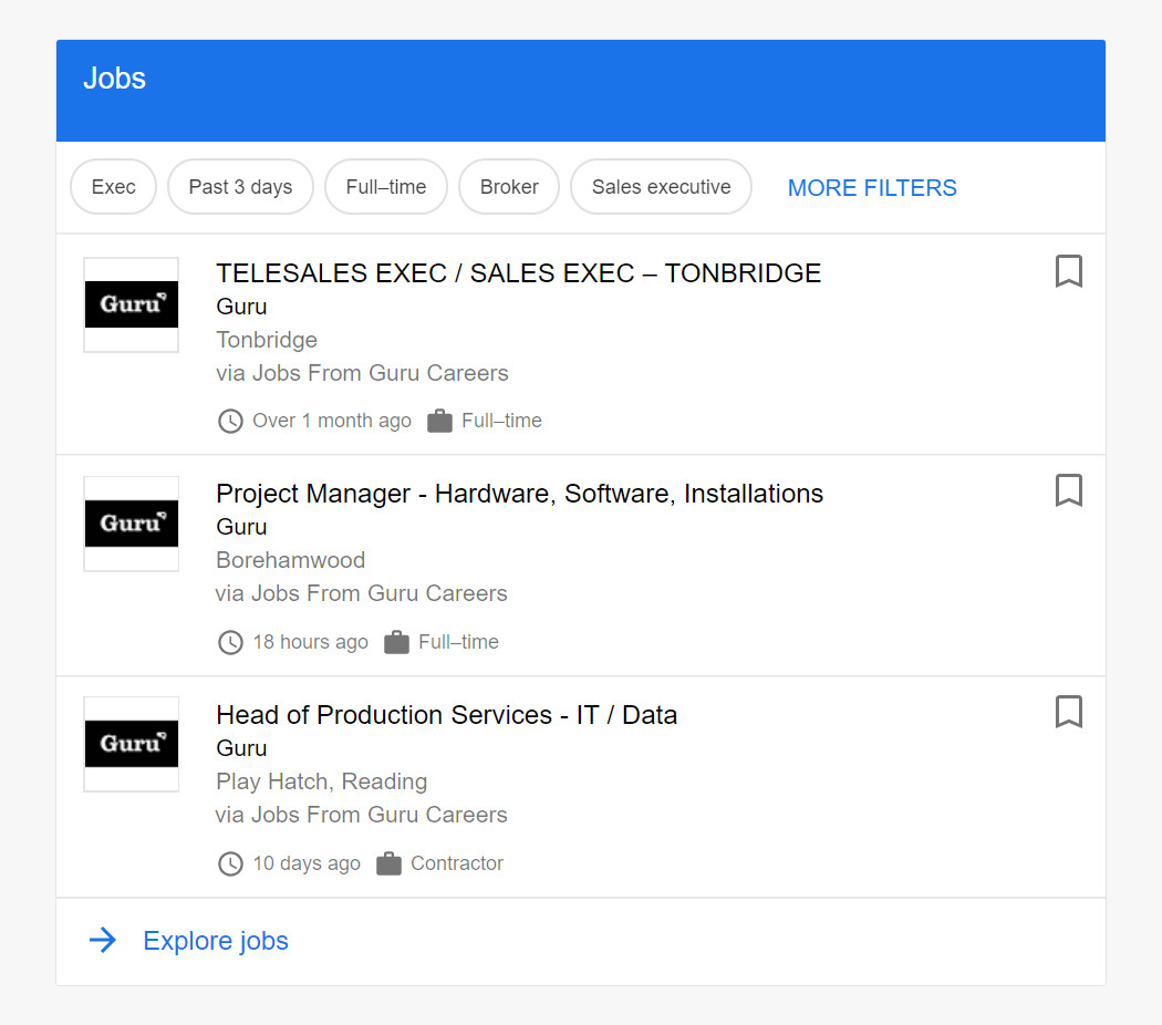 Guru Integrates With Google Jobs